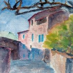 Rue de village en aquarelle