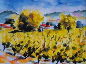 Paysage provencal en aquarelle