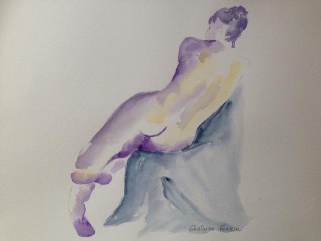 Chignon violet - Aquarellesde nus