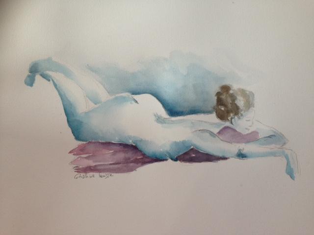 Femme allongée - Aquarelle de nus