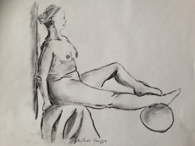 Femme Assise - Nu au fusain