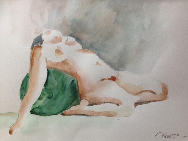 Femme au ballon vert - Aquarelle de nus