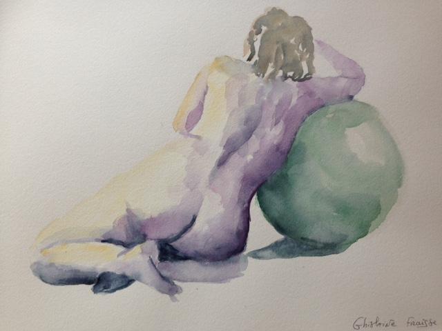 Femme de dos - Aquarelle de nu