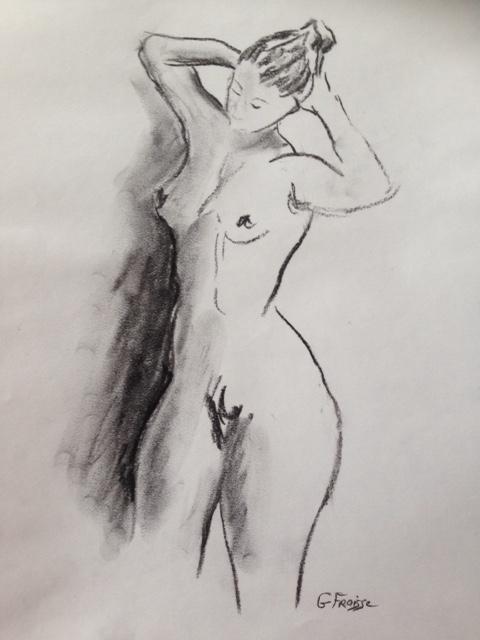 Femme Se Coiffant - Nu au Fusain